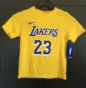 official photos 2b712 3bc87 Details about LA LAKERS T-SHIRT, 23 LEBRON JAMES, YOUTH SIZE LARGE, THE  NIKE TEE, YELLOW, NWT