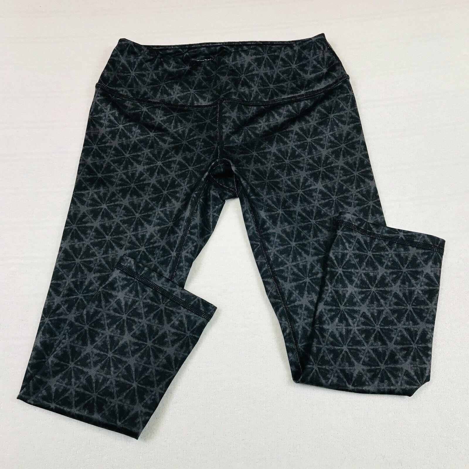REEBOK Size XS Workout Yoga Pants Leggings Black/Gray Print