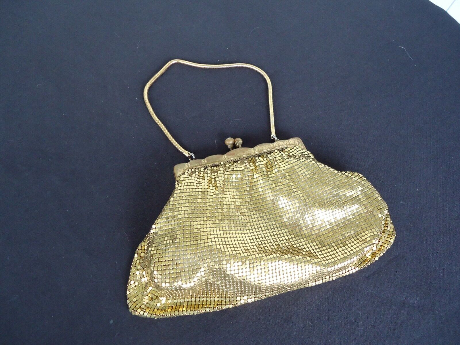 vintage art deco retro gold glomesh handbag evening bag diamond clasp