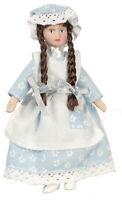 Dollhouse Miniature Doll Sister Girl Pigtails Blue Dress Porcelain 1:12 Scale