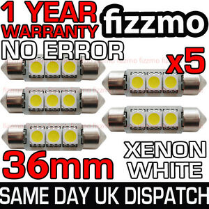 5x 36mm 239 272 SV8.5 6000k BRIGHT WHITE 3 SMD LED FESTOON LIGHT BULB ERROR FREE