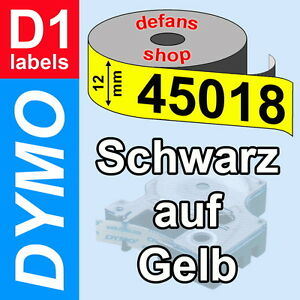 3x Schriftband Kasette für Dymo D1 45018 12mm Schwarz auf Gelb 3M PL 100 200 300