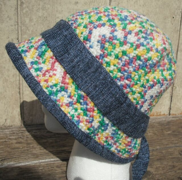 Pastel Colors Larger Size Crocheted Cloche - Handmade by Michaela