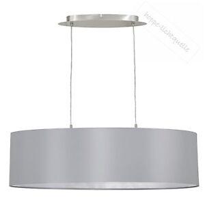 Pendel-Leuchte-silber-grau-Textil-Stoff-Haenge-Lampe-Beleuchtung-Wohnzimmer