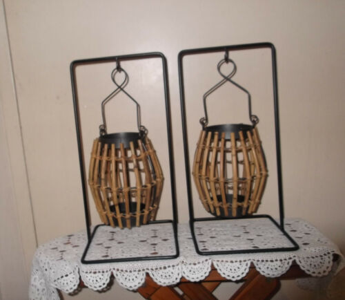 2 X Vintage Style BAMBOO HOLDER CAGESGreat for Garden Restaurant Display