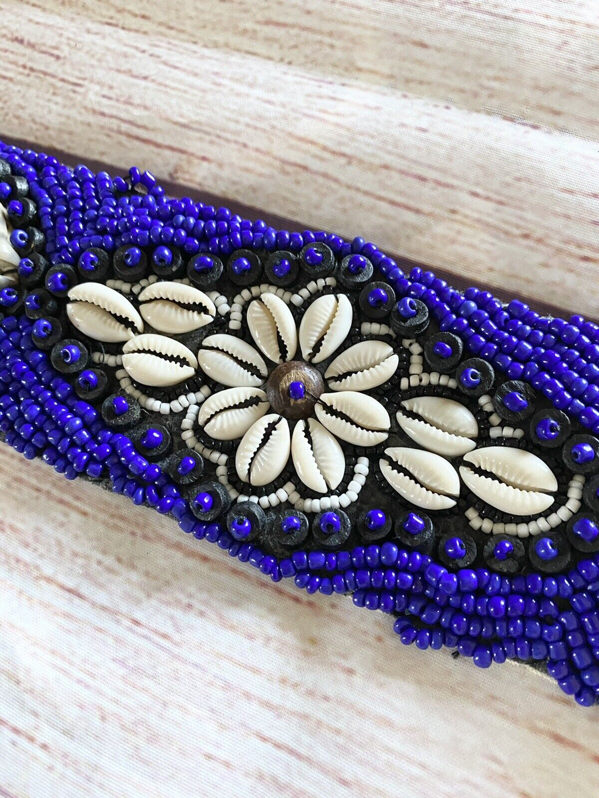 seashell and blue bead embroidered belt OS