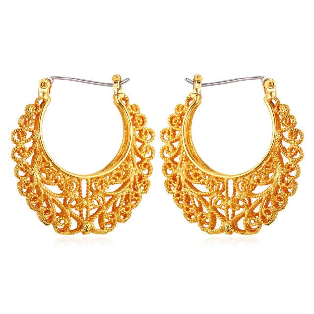 Vintage Tribal Earring Women Jewelry Basketball Wives Gold Plated Hoop Earrings