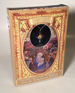 Nativity Stone Gold & Silver Cross From The Birthplace Of Jesus - New With Box