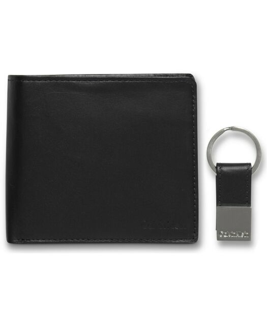 $50 CALVIN KLEIN Mens Black Leather Bifold Coin Pocket Passcase Wallet + Key Fob