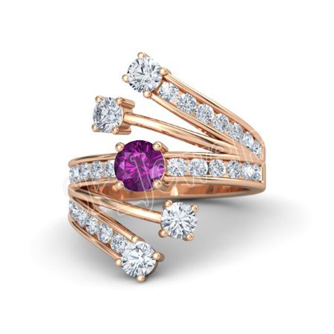 1.10ct NATURAL DIAMOND AMETHYST 14k pink gold WEDDING ANNIVERSARY CLUSTER RING