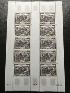 AVO-1386-FRANCE-poste-aerienne-PA-29-feuille-10-timbres-airmail-coin-date