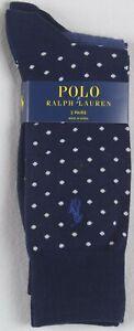 Polo Ralph Lauren 2 Pairs Dress Socks Polka Dots Navy Blue NWT