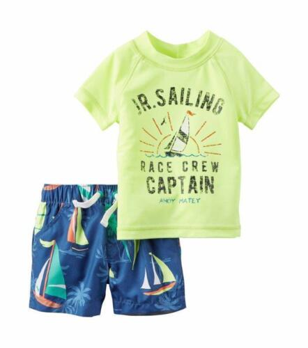 Rashguard Swim Set NWT UPF 50 CARTER/'S® Baby Boy 12M Sailing 2 Pc