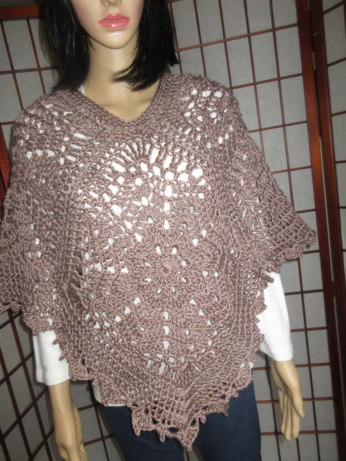 WOMEN'S  HANDMADE CROCHETED CROCHETED CROCHETED BROWN PONCHO SIZE S-L 36f502