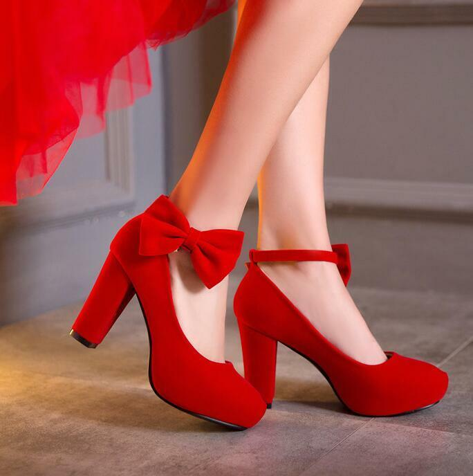 Womens Suede Platform Platform Suede Chunky High Heels Pumps Shoes Wedding Bow Summer Shoes S60 d77247