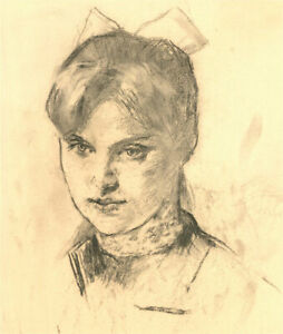 Samouil Grigorievich Nevelshtein (1903-1983) - 1975 Charcoal Drawing, A Girl