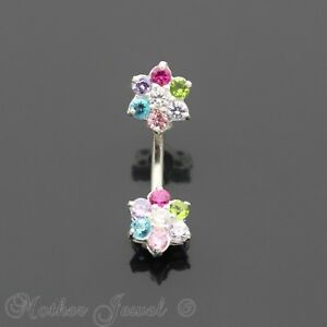 925 Sterling Silver 9mm Twin Flower Colour Cz 316l Surgical Steel Belly Bar Ring Engagement & Wedding