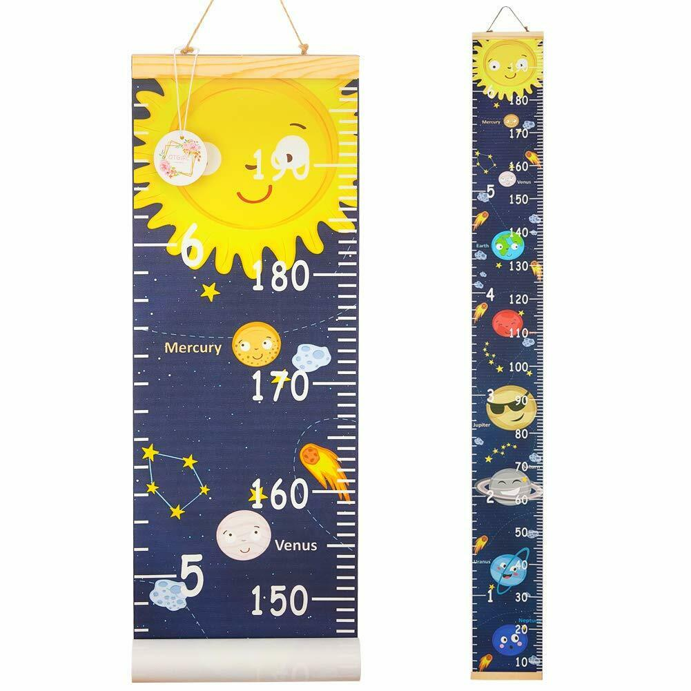 Coloring Growth Chart Hanging Ruler Wall Decor Canvas Child Measurement Chart for Kids Height Ruler Children Room Nursery Decoration