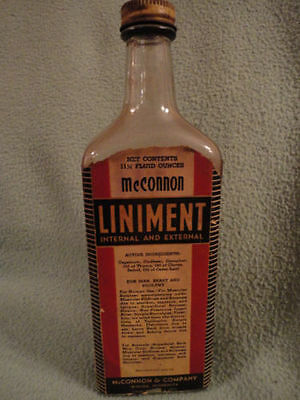 Glass Purposeful Mcconnon Liniment Bottle Paper Label 9'tl Winona Memphis Vintage