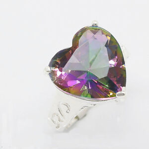 Huge-49-Ct-Natural-Genuine-Rainbow-Mystic-Fire-Topaz-Gems-Silver-Ring-Sz-7-8-9