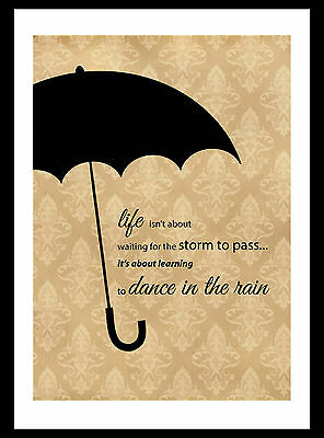 Vintage style shabby chic wall art print – quote 'dance in rain'