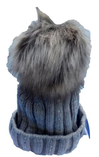 Damen Mütze Wintermütze Strickmütze Bommel kunstfell Strass gefüttert Fleece EG