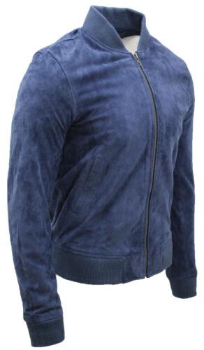 Mens Retro Ocean Blue 100/% Genuine Soft Goat Suede Leather Bomber Varsity Jacket