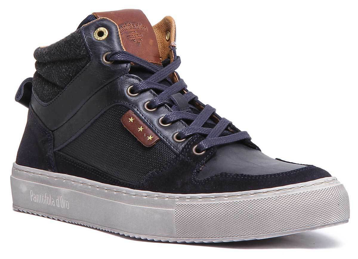 Pantofola D'gold Avezzano Mens Leather bluee High Top Trainers UK Size 6 - 12