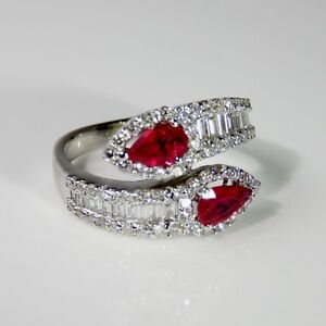 Image Is Loading BRIGHT RED Ruby Diamond Bypass Ring 18K Gold