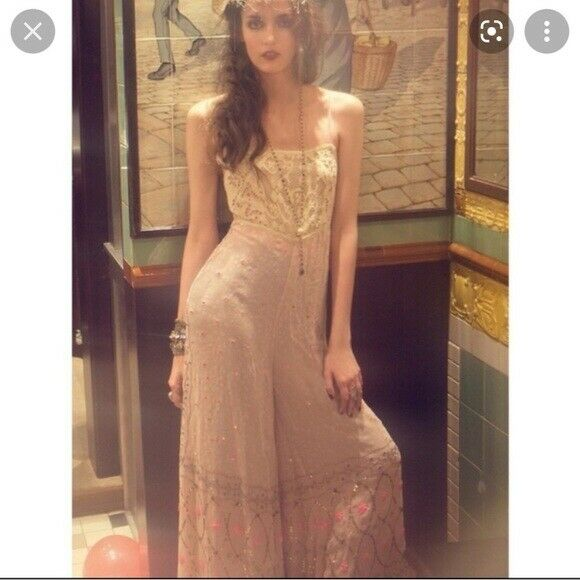 Free people whimsical wide leg jumpsuit fairycore - image 4