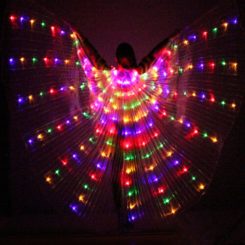 2 Telescopic Sticks Belly Dance Light Costumes Adult or Child LED Isis Wings