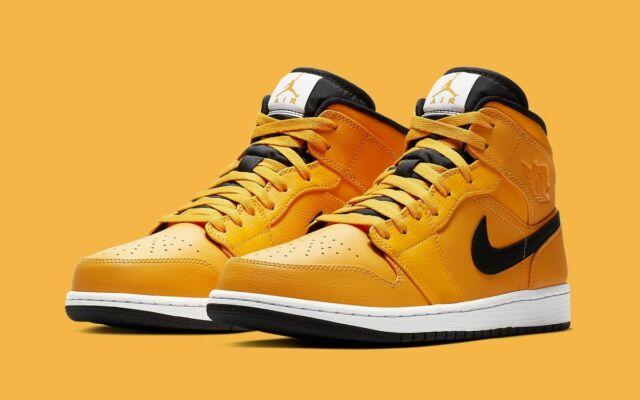 Air Jordan 1 Mid University Gold Black 554724 700 Basketball Shoes Men's NEW
