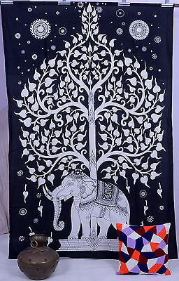 Indian Tree Of Life Psychedelic Wall Hanging Elephant Mandala Tapestry Throw Art