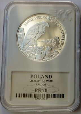 Poland 2008 Endangered Peregrine Falcon Sokol /& Nestlings 20 Zl Silver Proof