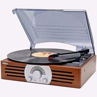 Jensen Vintage 3-speed Stereo Turntable Vinyl Record Player W/ Radio Speakers