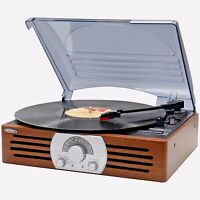 Jensen Vintage 3-speed Stereo Turntable Vinyl Record Player W/ Radio Speakers