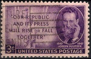 USA. 1947. 3 Cents. Joseph Pulitzer (Used)