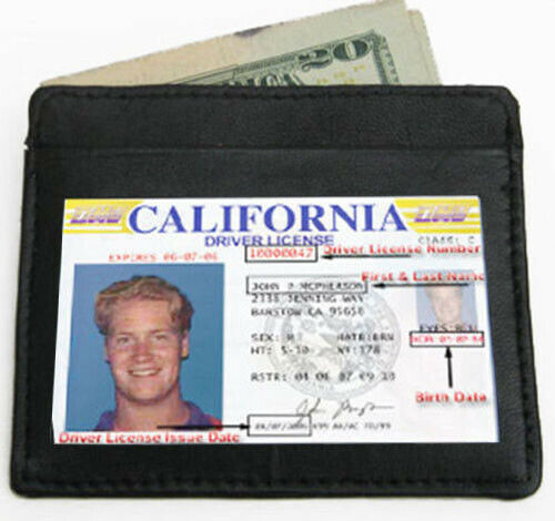 Black Genuine Cowhide Leather Mens Thin Wallet Front Pocket ID Card Holder
