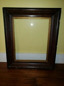 Antique-Tiger-Wood-Oak-Solid-Picture-Frame-Glass-Painting-15-5-x-19-5-in-VTG