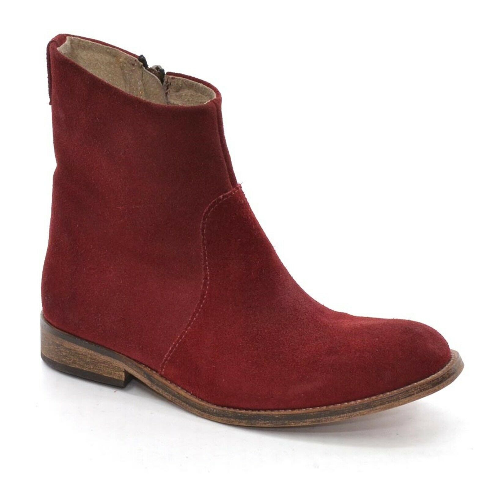 Womens AA Copenhagen Chelsea Ankle Boot 36 / 6 Red Waxed Suede Bootie New in Box