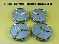 Center Wheel Cap Carbon Fit Mercedes Benz 75mm S-ml-gl-e-c Emblem Caps Silver