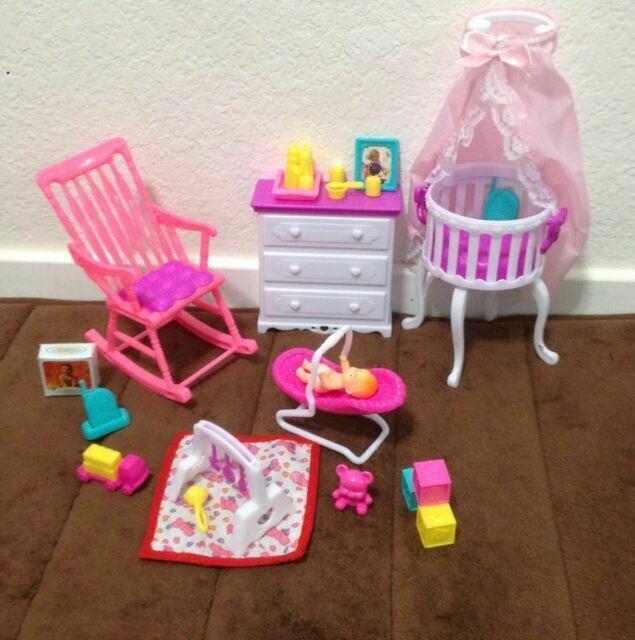 Gloria Barbie Size Dollhouse Furniture Home Nursery Set