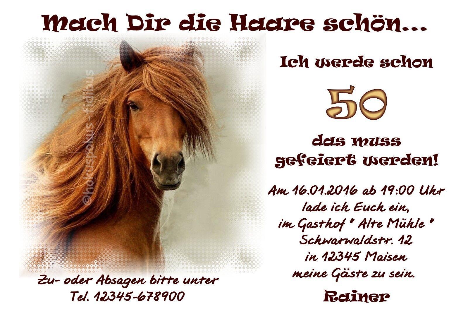 50 tierische Einladungskarten Geburtstag Einladungen Pferd JEDES ALTER MÖGLICH