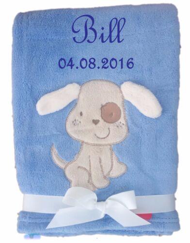 Babydecke kuschlig weich mit Namen und Datum bestickt Kinderdecke Taufe Geburt
