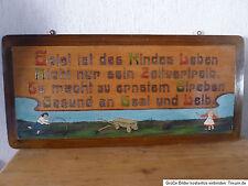 wunderschönes Holzbild mit spielenden Kindern Jugendstil Spruchbild Brandmalerei