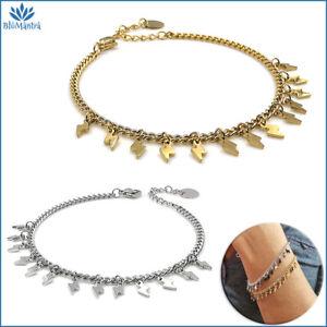 Bracciale da donna con ciondoli charms fulmine saetta acciaio inox braccialetto