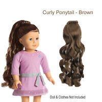 American Girl My Ag Curly Ponytail Brown For 18 Dolls Hair Extension Retired