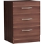 thumbnail 7 - Riano Bedside Cabinet Chest Of Drawers Walnut 3 Drawer Metal Handles Runners