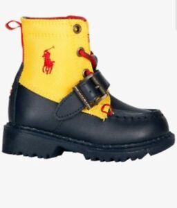 sale retailer e4b34 e3eff Dettagli su Polo Ralph Lauren Ranger Alto Ragazzi Scuola Lementare Stivali  Scarpe Taglia 6