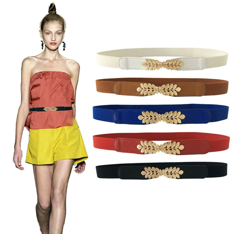 ! nuevo! Mujer Cinch Cintura Skinny Thin De Hoja Vestido Elástico Cintura Cinturón Elástico